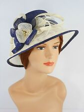 New Woman Church Derby Wedding Party Sinamay Dress Hat 7045 Navy & Ivory