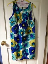 Ann Taylor LOFT Sheath Blue/green Flower Size 8 Worn Few Times