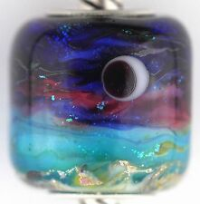 MOONLIT OCEAN sterling silver core european charm bead lampwork murano glass MWR
