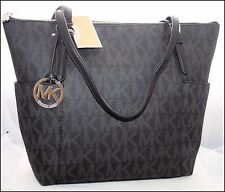 NEW MICHAEL KORS JET SET BLACK PVC SILVER MK SIGNATURE TOTE SHOULDER BAG PURSE