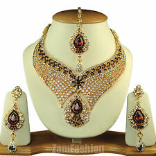 Indian Bridal Jewellery Gold Plated Rhinestone Necklace Set Maroon S#847