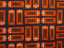BRITISH LONDON UK TELEPHONE BOOTH BLUE COTTON FABRIC FQ