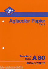 Prospekt Agfacolor Papier Typ 5 Technische Daten A80 12/81 specifications 1981