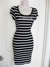 BEBE LOGO BLACK WHITE RUCHED STRIPED DRESS MINI NEW NWT SMALL S