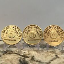 Lot Of 3 AA 2 Year Medallion Chips Bronze Sobriety Medallions Set