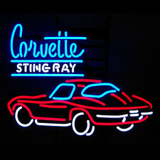 "17""x14"" Corvette Stingray Auto Car Real Glass Neon Light Sign Beer Bar Display"
