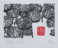 LOTUS POND, An original Signed JAPANESE WOODBLOCK-STYLE Limited Edition Linocut