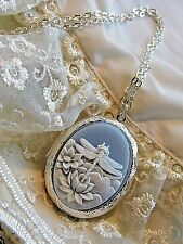 DRAGONFLY BLUE WEDDING Cameo PHOTO Necklace Locket QUALITY 925 SILVER PLT URN BO