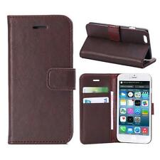 "For iPhone 6/6s 4.7"" Brown Genuine Real Leather Business Wallet Case Cover Stand"
