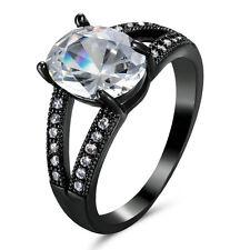 White Sapphire Gem Wedding Rings 14Kt Black Gold Filled Women's/Men's Size 6.5