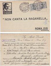 """# ROMA: testatina ALCIDE DURANTI """"NON CANTA LA RAGANELLA"""" da Roma a Monopoli1925"""