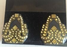 Vintage Signed Pierre Bex Rhinestone Enamel Clip Earrings Art Deco Black Gold