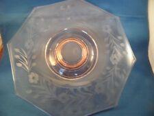 Elegant Pink Depression Glass Crystal Etched Octagonal Low Pedestal Cake Plate
