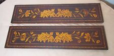antique ornate handmade marquetry inlaid wooden architectural panel salvage art