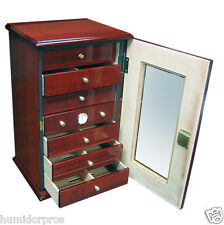 HUMIDOR The Charles 150 ct. 7 Drawer Cherry w/ Humidifiers Hygrometer Lock & Key