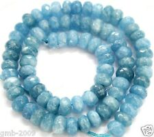5x8mm Faceted Natural Blue Aquamarine Cyanite Gemstone Abacus Loose Beads 15""
