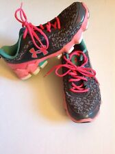 Under Armour Girls Size 4.5 Athletic Shoes VGUC Gray Animal Print 4 1/2