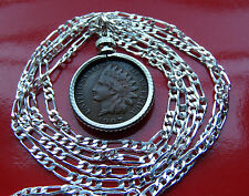 "Classic US Antique Indian Head Liberty Penny on a 30"" 925 Sterling Silver  Chain"
