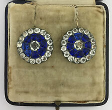 A Wonderful Pair Of Georgian Blue & White Paste Earrings Circa 1800's