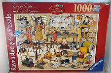 Ravensburger 1000 Piece Puzzle Crazy Cats in the Craft Room Linda Jane Smith