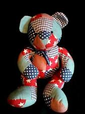 The Children's Place Red White Blue Patriotic Patchwork Plush Teddy Bear