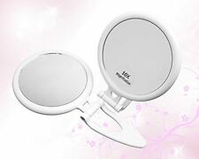 QT Foldable Handheld 10x Magnifying Travel Mirror - 10x and 1x Magnification