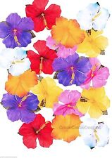 24 Silk Hibiscus Flowers Luau Decorations Hawaiian Tropical Beach Pool  Party