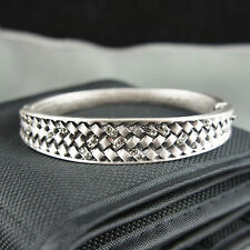 Ancient Silver Swarovski elements filigree antique style vintage bangle bracelet