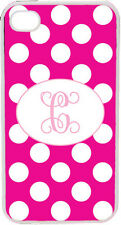 Fuschia Polka Dot Pattern iPhone 4 4S Custom One Initial Monogrammed Case Cover