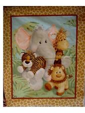 JUNGLE  BABIES - Animals in Jungle  Fabric Quilt Top / Wall Hanging