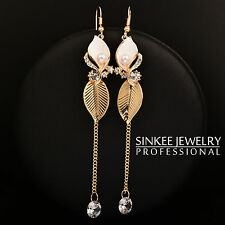 Fashion Long White Flower & Gold Leaf Earrings For Women 18K Yellow Gold ES554