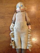 """RARE! Antique Toy Monkey MAN? Jointed  FELT WOOL CHAPS CLAY 11 1/2"""""""