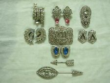 14 PC LOT VINTAGE ART DECO RHINESTONE JEWELRY ~ DRESS & FUR CLIPS PINS & BROOCH