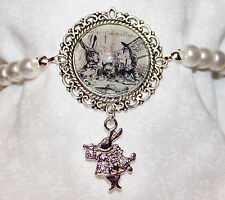 Alice in Wonderland Mad Hatter bracelet with glass pearls and white rabbit charm