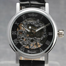 Deluxe Steampunk Women's Auto Mechanical Skeleton Wrist Watch Leather band reloj