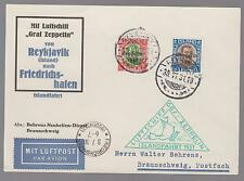 1931 Iceland Graf Zeppelin postcard Cover to Cottbus Germany LZ 127  #C9 & C11