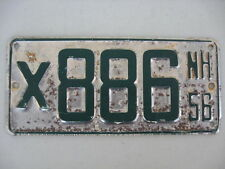 1956 NEW HAMPSHIRE BOAT LICENSE PLATE, NUMBER X886,GREEN ON WHITE