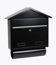 External Large Wall Mounted Black Letter Box With Newspaper Holder sd3t
