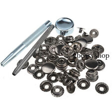 Gunmetal Black 15mm 15 Sets Snap Fasteners Press Stud Kit Poppers Leather Button