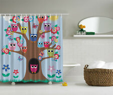 "COLORFUL OWLS TREE FLOWERS 70"" Fabric Bathroom Shower Curtain"