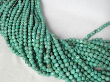 "2 Strands Set of 7.5-8mm Blue Turquoise Round Beads 15.5"" Strand"