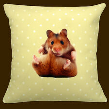 "CUSHION (pad included) CUTE FUNNY HAMSTER YELLOW WITH WHITE POLKA DOT 12"" PILLOW"