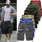 Stylish Mens Cargo Shorts Summer Army Combat Camo Work Short Trousers Pants 3/4