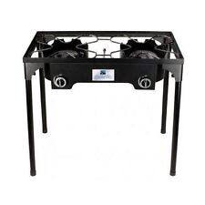 Stove Gas Propane 2 Burner Cast Iron Portable BBQ Camping Outdoor Cooking Camp
