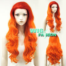 "24"" Long Red Mixed Orange Curly Lace Front Synthetic Hair Wig"