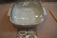 Corning Ware White Microwave Browning Dish, Glass Lid Cover & Instructions