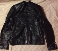 Superman Smallville Man of Steel Shield Black Leather Jacket Size XS