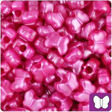 50 Hot Pink Pearl Butterfly Shape 13mm Pony Beads