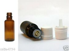 6X30ml Essential Oil Glass Bottles Tamper Evident W Cap Dripolator FREE POSTAGE
