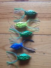 course fishing lures weedless 2/0 hooked frog lure set of 5 Three Colours Set 2